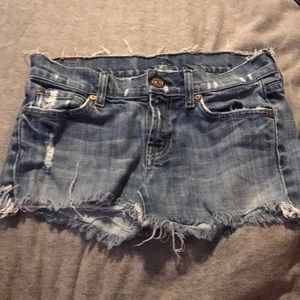 'For All Mankind' Booty Jean Shorts With Fringe